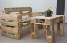 Sitzbank und Tisch aus Paletten